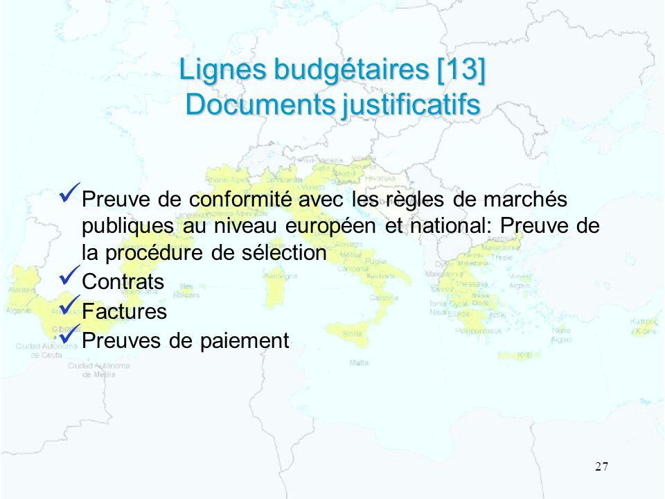 Lignes budgétaires [13] Documents justificatifs